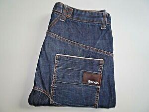 "BENCH Mens Jeans Blue Denim Drop Crotch Curved Leg SIZE W34 L32 Waist 34"" Leg 32"