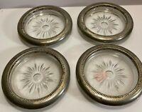 Vintage Mid Century Modern Star MCM Glass Silver Plate Coaster Set Leonard Italy