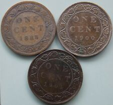 1888 1900 1901 Canada Canadian Large 1 Cent Victoria Coins - Lot Of 3
