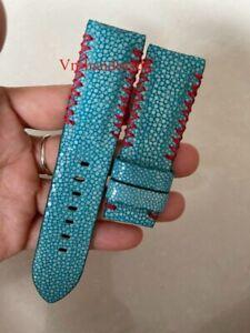 BLUE Genuine Stingray leather skin WATCH STRAP BAND 24mm/22mm