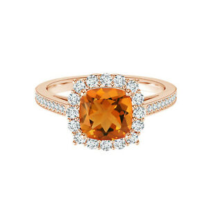 9K Rose Gold Classic Orange 1.30 Cts Cushion Solitaire Accents Ring US-10
