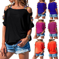 Womens Summer Short Sleeve Blouse T-Shirt Tops Off Shoulder Casual Fashion Loose