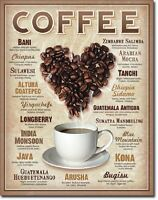 Coffee Bean Heart Retro Restaurant Kitchen Wall Art Decor Metal Tin Sign New