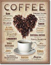 Coffee Bean Heart Retro Restaurant Kitchen Wall Art Decor Metal Tin Sign New