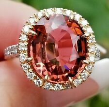 Gorgeous 7.90TCW PInk Peach Tourmaline Diamond 18k white/rose gold ring