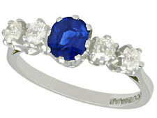 Antique and Contemporary 1.19Ct Sapphire and Diamond 18k White Gold Ring