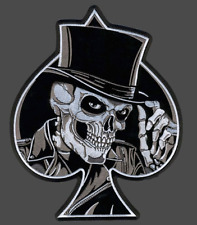 Scull Spade Flat Hat Patch Aufnäher XL 23,5x20m-Backpatch Kutte MC Old School