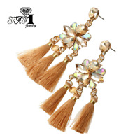 Hot Multi Glass Crystal Ear Drop Dangle Stud Ancient Gold long Tassels Earrings