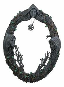 """Ebros Triple Goddess Mother Maiden Crone Wall Hanging Mirror Plaque 17"""" Tall"""