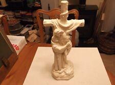 Vintage Italian Painted Plaster Christ On The Cross Figure