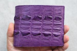 Purple Genuine Crocodile Alligator Skin Leather - Men's Bifold Wallets #W1
