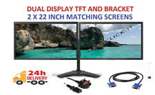 "Cheap 22"" TFT Dell COMPUTER PC LAPTOP MONITOR SCREEN VGA FLAT SCREEN DUAL SCREEN"
