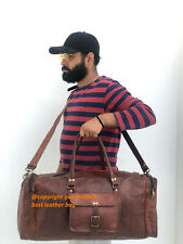 Natural Leather Bag Travel Men Duffel Vintage Weekend Luggage Overnight Holdall