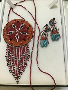 Vintage SOUTHWEST Seed Bead NECKLACE Kachina Doll EARRINGS Hand Crafted