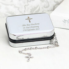 Personalised Cross Pendant Box & Holy Rosary Beads Communion Christening Gift UK