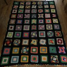 Vtg Handmade Black Rainbow Granny Squares Afgan Throw Blanket Crochet 52 X 76