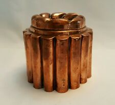 More details for antique copper benham & froud jelly / jello mould no. 398 fluted, rope twist top