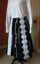 Basil & Maude Black and White Sequin Flower Embroidery Skirt 4 new