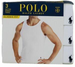3 POLO RALPH LAUREN 100% COTTON WHITE TANKS T-SHIRTS UNDERSHIRTS S M L XL XXL