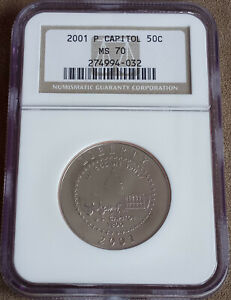 PERFECT 2001 CAPITOL VISITOR CENTER 50c Half Dollar Graded NGC MS70 Slabbed Coin