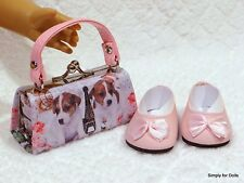 "2pc PINK Puppy in Paris DOLL SHOES & Clasp PURSE SET fits 18"" AMERICAN GIRL DOLL"