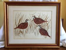 Anna Tefft Siok Quail Lithograph Pencil Signed Framed