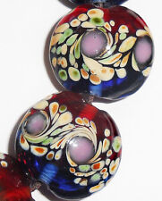 Handmade Lampwork Glass Lentil Beads Blue Red Peacock Swirls 19mm 4 pcs (#a91)