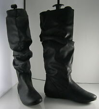 new ladies Black Flat Slouch Sexy Knee Boot Size 6.5