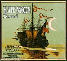 Redlands San Bernardino Half Moon Ship Orange Citrus Fruit Crate Label Art Print