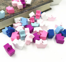 50pcs Crown Wooden Beads Spacer Beading DIY Jewelry making Kids Toys 18X13mm