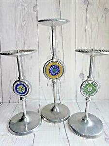 Candle Holders Set Of Three, Tile Ceramic Centers, Italian Looking, Aluminum