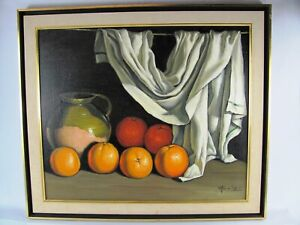 Juan Soler Still Life Oil Painting. Listed. Signed. Medium size. Framed Soler
