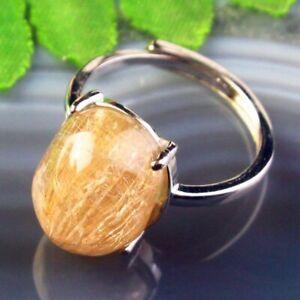 Copper Wrap Natural Gold Rutilated Quartz Oval AdjustablePendant Ring B50668