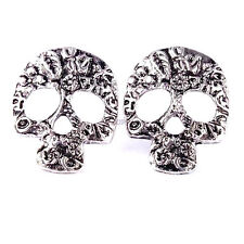SKULL Earrings Silver Skeleton Stud Earring Flower Leaf Design Sugar Skull New