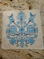 Finished Cross Stitch Birds Flowers Blue 12in Panel Quilting Crafting Vintage