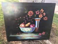 Vintage Van Hunt Still Life Oil Painting Original & signed 24 x 20