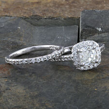 GIA Certified 2.0ctw Natural Cushion Diamond Gold Halo Ring& Band Set+Video E/SI
