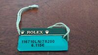 Vintage ROLEX Green Hang Tag Sello 116710LN 78200  OYSTER SWIMPRUF Showcase Tag