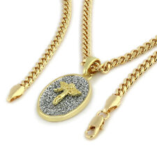 "14k Gold Plated High Fashion Oval Angel Pendant 16k 3mm 24"" Hip Hop Cuban Chain"