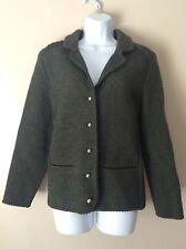 Kitz Pichler Tyrol Austrian Dark Green Wool Blazer~S?~Knit Suede Embellishment