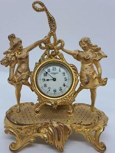 Antique 1890's NEW HAVEN Figural Ladies Victorian Art Nouveau Mantel Shelf Clock