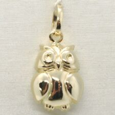 Yellow Gold Pendant 750 18K, Owl, Rounded, Length 2.0 cm, Made in Italy