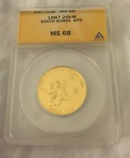 1987 South Korea 25000 Won 25kw Gold Coin ANACS MS68 MS-68 1988 Olympics KM68
