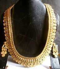South Indian Gold Plated Belt Surya Haar 10'' Long Wedding Necklace Earrings Set