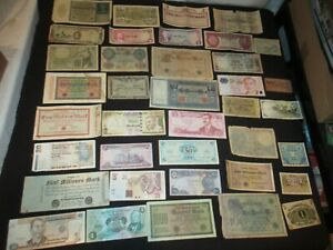 OLD FOREIGN BANKNOTES PAPER CURRENCY AFRICA SINGAPORE MARKS PFENNIG JAMAICA