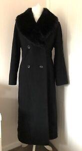 Vintage M&S Black Long Coat Size 12 Wool Cashmere Mohair Removable Fur Collar