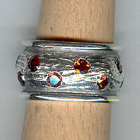 Handmade Natural Garnet Gemstone 925 Sterling Silver Ring Size 7