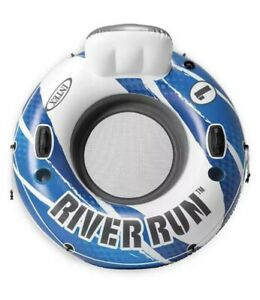 Intex River Run 1 Lounge Inflatable Floating Water Tube Blue/White