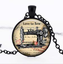 Love to Sew Black Glass Cabochon Necklace chain Pendant Wholesale