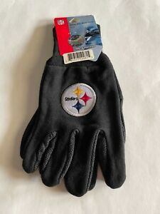 Pittsburgh Steelers Gloves Sports Logo Utility Work Gloves Textured Palm Large